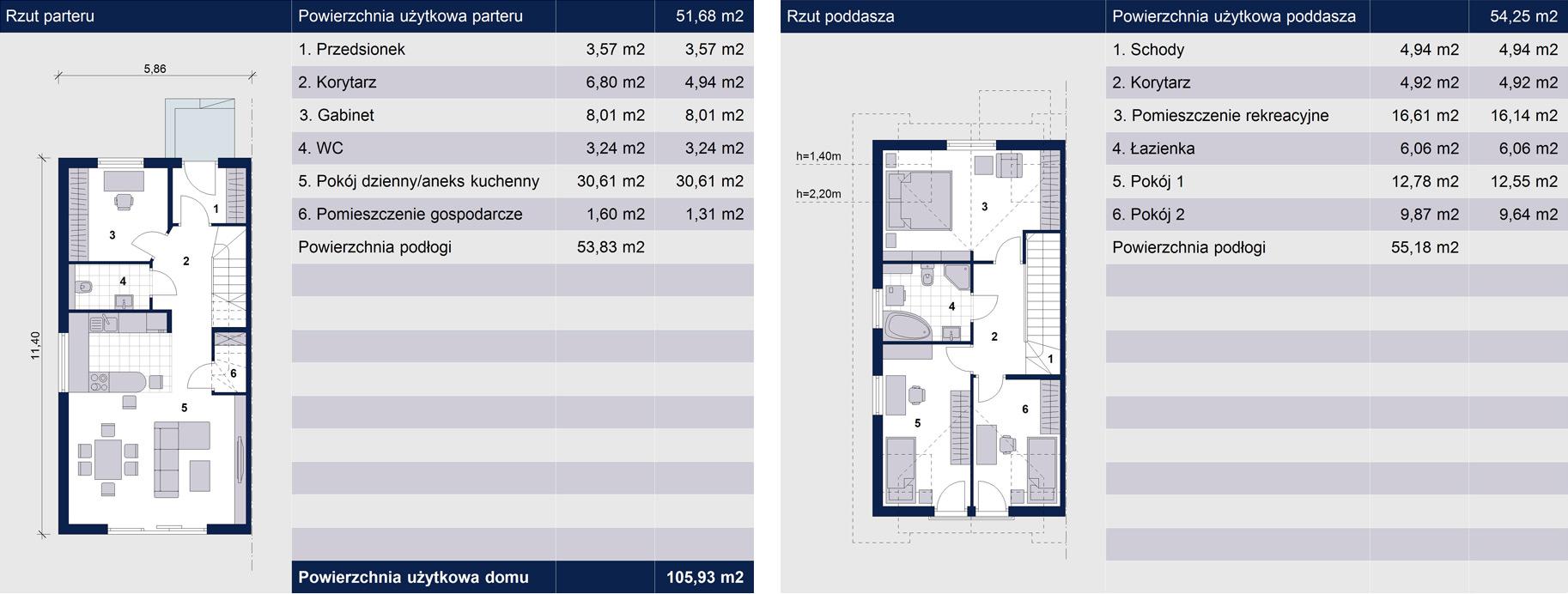 Dom w zabudowie szeregowej w Skawinie - Rzuty segmentów